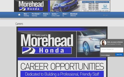 Screenshot of Jobs Page moreheadhonda.com - Morehead Honda | New Honda dealership in Newburgh, NY 12550 - captured Feb. 28, 2016