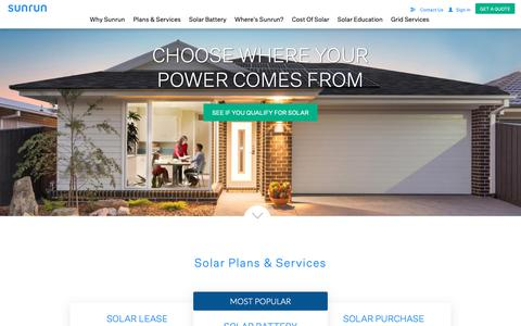 Screenshot of Home Page sunrun.com - #1 Residential Solar Panel Company | Home Battery - Sunrun - captured May 15, 2019