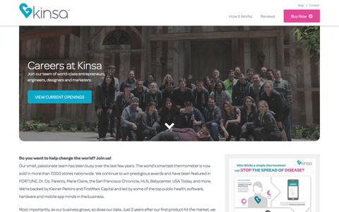 Screenshot of Jobs Page kinsahealth.com - Careers | Kinsa Health - captured Sept. 3, 2016