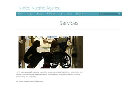 Screenshot of Services Page norica.ca - Services | Norica Nursing Agency - captured Oct. 7, 2014