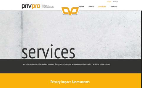 Screenshot of Services Page privpro.ca - PrivPro  | Services - captured Oct. 1, 2014