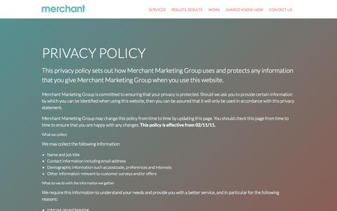 Screenshot of Privacy Page merchantmarketinggroup.com - Privacy Policy | Merchant Marketing Group - captured Sept. 30, 2014