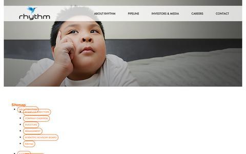 Screenshot of Site Map Page rhythmtx.com - Sitemap - Rhythm Pharmaceuticals - captured Oct. 19, 2018