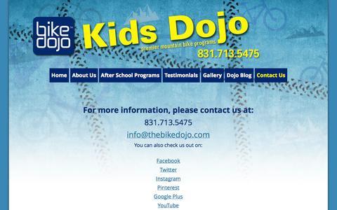 Screenshot of Contact Page thebikedojo.com - Contact Kids Bike Dojo | After School Mountain Bike Programs - captured Oct. 5, 2014