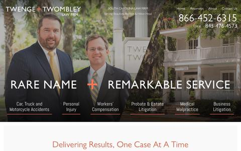 Screenshot of Home Page twlawfirm.com - Personal Injury Lawyers South Carolina : Twenge + Twombley - captured July 2, 2018