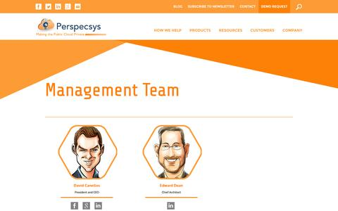 Screenshot of Team Page perspecsys.com - Cloud Data Security Management Team, Cloud Vendor | Perspecsys - captured Oct. 28, 2014