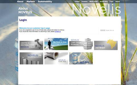 Screenshot of Login Page novelis.com - Login - captured Sept. 22, 2014
