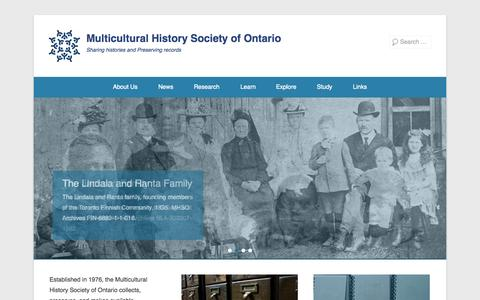 Screenshot of Menu Page mhso.ca - Multicultural History Society of Ontario | Sharing histories and Preserving records - captured Nov. 4, 2014