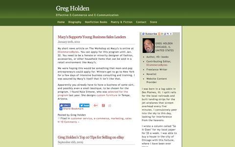 Screenshot of Support Page gregholden.com - Greg Holden   » customer service - captured Dec. 23, 2016