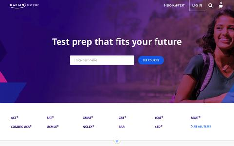 Screenshot of Home Page kaptest.com - Practice Tests, Tutoring & Prep Courses | Kaplan Test Prep - captured Dec. 9, 2017