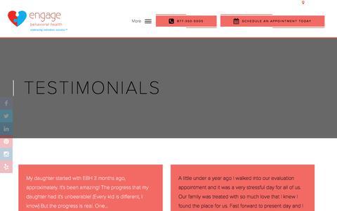 Screenshot of Testimonials Page engagebehavioralhealth.com - Client Reviews - Engage Behavioral Health - captured Nov. 24, 2017