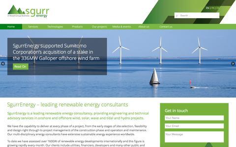 Screenshot of Home Page sgurrenergy.com - Renewable energy consultants - Wind solar wave engineering consultancy | SgurrEnergy - captured Aug. 12, 2016