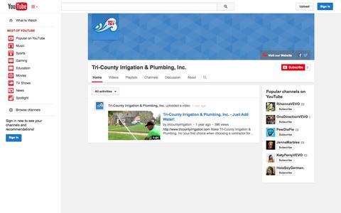 Screenshot of YouTube Page youtube.com - Tri-County Irrigation & Plumbing, Inc.  - YouTube - captured Nov. 5, 2014