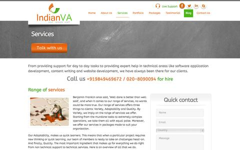Screenshot of Services Page indianva.com - Full-Time VA| Part time Assistant|PHP Programming|Content Writing|SEO | IndianVA - Your Remote Staff - captured Sept. 30, 2014