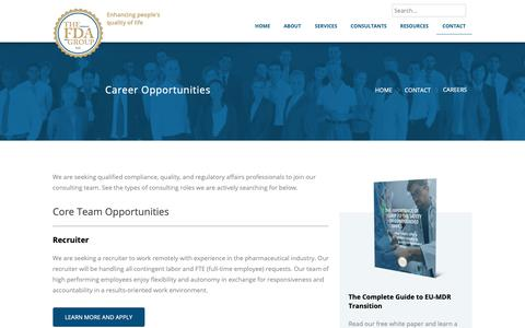 Screenshot of Jobs Page thefdagroup.com - Careers | The FDA Group - captured Oct. 15, 2018