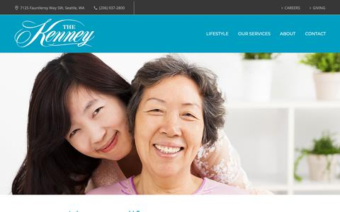 Screenshot of Services Page thekenney.org - Our Services - The Kenney - captured Oct. 20, 2018