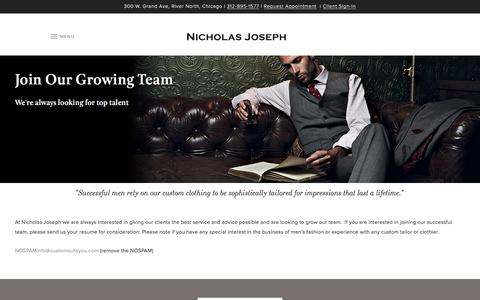 Screenshot of Jobs Page customsuitsyou.com - Join Our Growing Team | Nicholas Joseph - captured Jan. 24, 2017