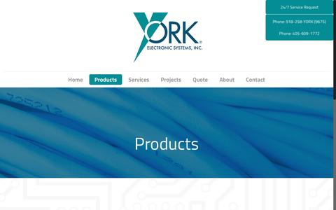 Screenshot of Products Page yorkes.com - Low Voltage Electronic Products | York Electronic Systems - captured Nov. 28, 2016