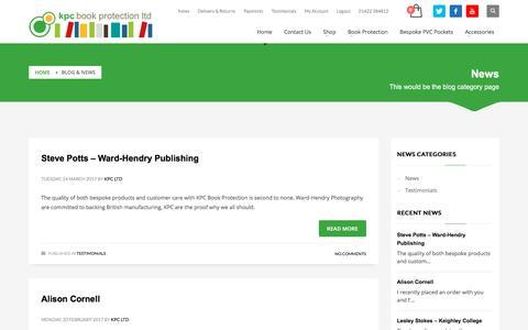 Screenshot of Press Page kpc-ltd.com - News - KPC Book Protection - captured Oct. 16, 2017