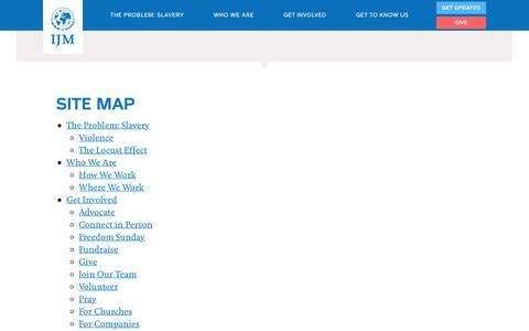 Screenshot of Site Map Page ijm.org - Site map | International Justice Mission - captured July 3, 2017
