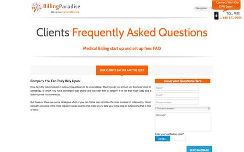 Screenshot of FAQ Page billingparadise.com - Medical Billing Clients frequently asked Questions about us | FAQ - captured Sept. 30, 2014