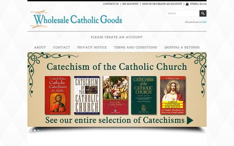 Screenshot of Home Page wholesalecatholicgoods.com - Wholesale Catholic Goods - - captured Oct. 20, 2018