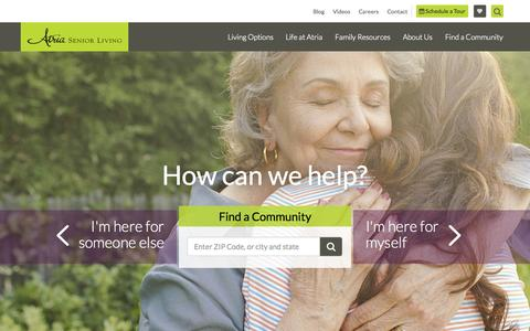 Screenshot of Home Page atriaseniorliving.com - Assisted Living and Retirement Communities | Atria Senior Living - captured Aug. 2, 2015