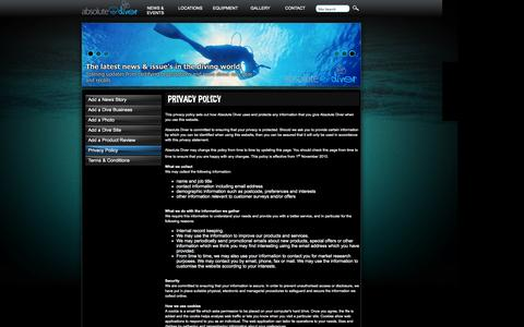Screenshot of Privacy Page absolutediver.com - Absolute Diver - Scuba Diving :: Privacy Policy - captured Oct. 27, 2014