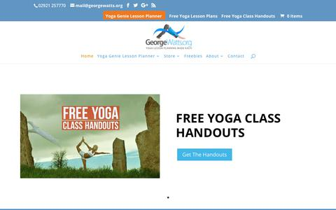 Screenshot of Home Page georgewatts.org - Free downloadable yoga class plans for yoga teachers | GeorgeWatts.org - captured Aug. 23, 2019
