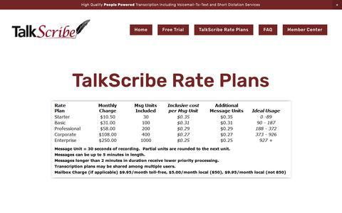 Screenshot of Pricing Page talkscribe.com - TalkScribe Rate Plans — TalkScribe - captured Nov. 19, 2018