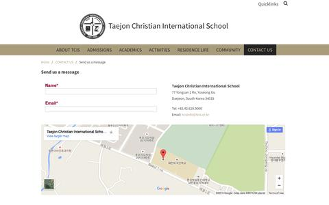 Screenshot of Contact Page tcis.or.kr - Send us a message - Taejon Christian International School - captured Feb. 13, 2016