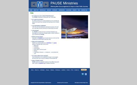 Screenshot of FAQ Page pauseministries.org - FAQ | Pause Ministries - captured Sept. 30, 2014