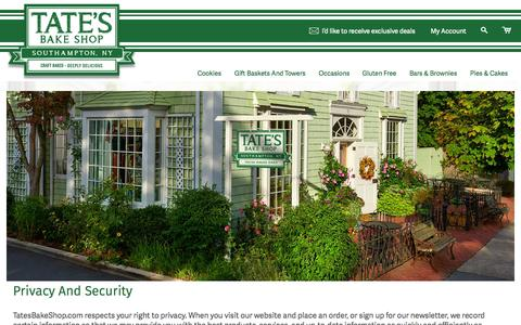 Screenshot of Privacy Page tatesbakeshop.com - Privacy and Security, Data Security - Tate's Bake Shop - captured Nov. 18, 2015