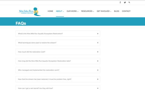 Screenshot of FAQ Page ninemilerun.org - FAQs | Nine Mile Run Watershed Association - captured Oct. 6, 2014