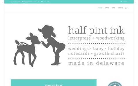 Screenshot of Home Page halfpintink.com - letterpress invitations, announcements, note cards and solid wood hand routed growth charts | half pint ink - captured Sept. 29, 2014