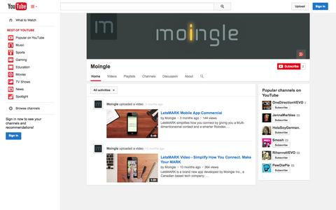 Screenshot of YouTube Page youtube.com - Moingle  - YouTube - captured Oct. 26, 2014