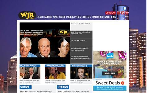 Screenshot of Home Page wjr.com - News Talk 760 | WJR-AM - captured Jan. 20, 2016