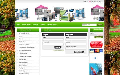 Screenshot of Login Page jetexhibitions.com - Hummingbird Displays - captured Oct. 4, 2014