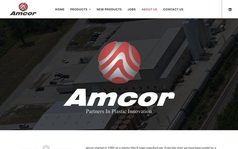 Screenshot of About Page amcorplastics.com - Learn About Amcor. Plastic PVC Resin, Polyester Film,& Bag Suppliers - captured Oct. 3, 2018