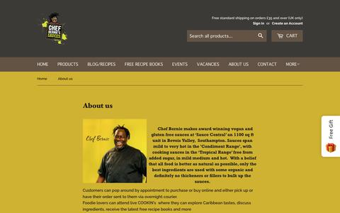 Screenshot of About Page chefbernie.co.uk - About us – Chef Bernie's - captured Sept. 27, 2018