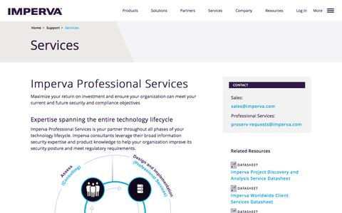 Screenshot of Services Page imperva.com - Professional Services for Your Entire Technology Lifecycle - captured March 2, 2018