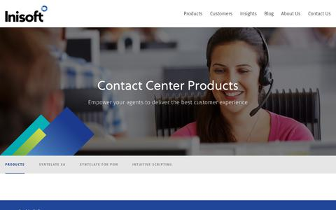 Screenshot of Products Page inisoft.com - Call and contact center software solutions • Inisoft - captured Oct. 12, 2018