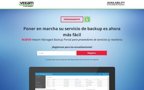 Screenshot of Landing Page veeam.com - Veeam Managed Backup Portal para Proveedores de servicios - captured March 22, 2016