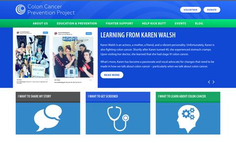 Screenshot of Home Page coloncancerpreventionproject.org captured May 19, 2017