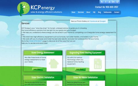 Screenshot of Services Page kcpenergy.com - KCP Energy :: Services Đ Home energy assessments, solar electric installations, solar hot water installations and home heating equipment upgrading - captured Jan. 9, 2016