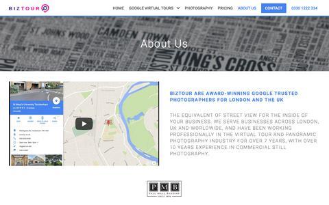 Screenshot of About Page biztour.co.uk - Biztour Virtual Tours | Google Photographers in London - About Us - captured Aug. 2, 2018