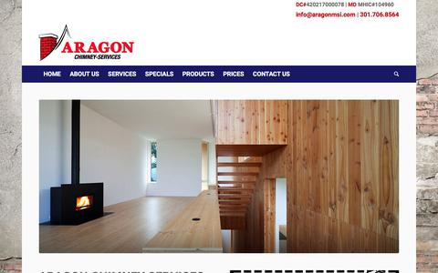 Screenshot of Home Page aragonmsi.com - Aragon Multi-Services, Inc. – Aragon Chimney Services in Maryland, Washington and Virginia - captured Oct. 8, 2017