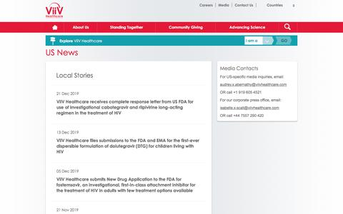 Screenshot of Press Page viivhealthcare.com - HIVUS News & Company Info News In The US | ViiV Healthcare US - captured Feb. 4, 2020