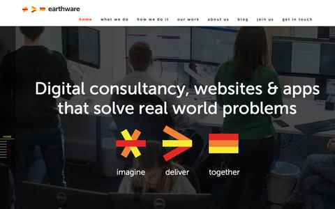 Screenshot of Home Page earthware.co.uk - earthware digital solutions. Consultancy, design and development - captured July 12, 2017