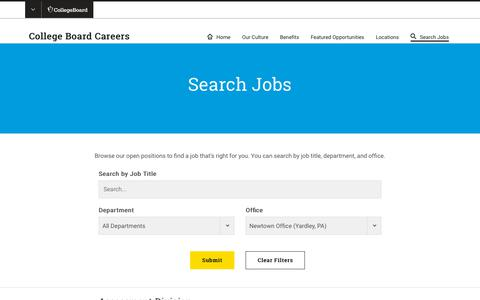 Screenshot of Jobs Page collegeboard.org - Search Jobs and Apply – College Board Careers - captured Jan. 4, 2019